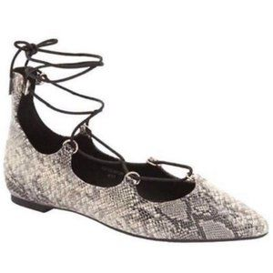 NWOB Topshop Snakeskin Pointed Lace-up Toe Flat